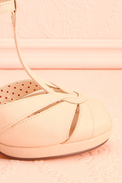 Nausori Cream Retro T-Strap Heels | Talons | Boutique 1861 side front close-up