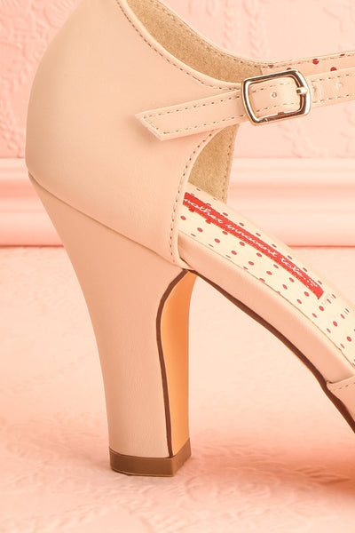 Nausori Cream Retro T-Strap Heels | Talons | Boutique 1861 side close-up