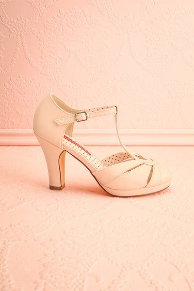 Nausori Cream Retro T-Strap Heels | Talons | Boutique 1861 side view