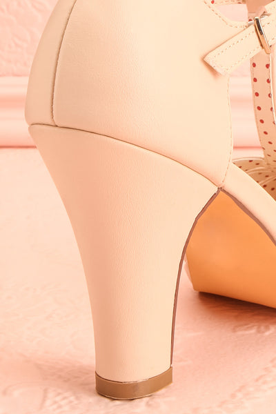 Nausori Cream Retro T-Strap Heels | Talons | Boutique 1861 back close-up