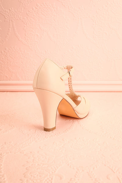 Nausori Cream Retro T-Strap Heels | Talons | Boutique 1861 back view