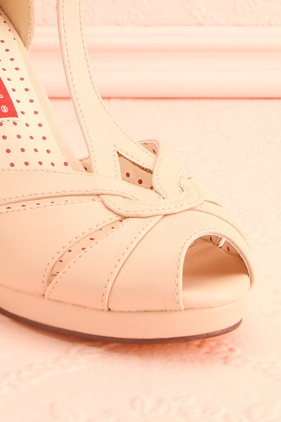 Nausori Cream Retro T-Strap Heels | Talons | Boutique 1861 front close-up