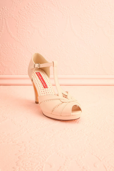 Nausori Cream Retro T-Strap Heels | Talons | Boutique 1861 front view