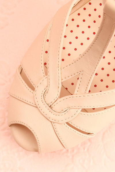 Nausori Cream Retro T-Strap Heels | Talons | Boutique 1861 flat close-up