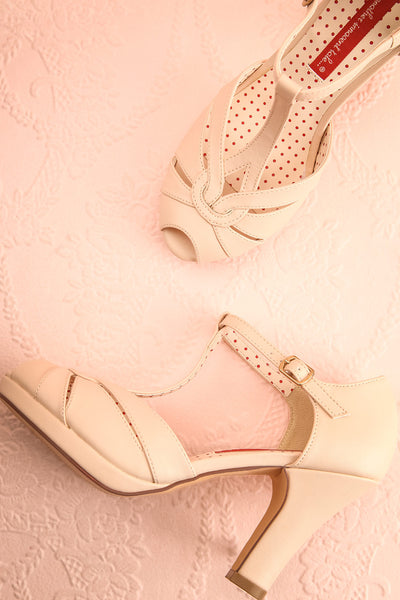 Nausori Cream Retro T-Strap Heels | Talons | Boutique 1861 flat lay