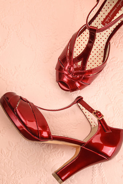 Nausori Rouge Red Retro Peep-Toe T-Strap Heels | Boutique 1861