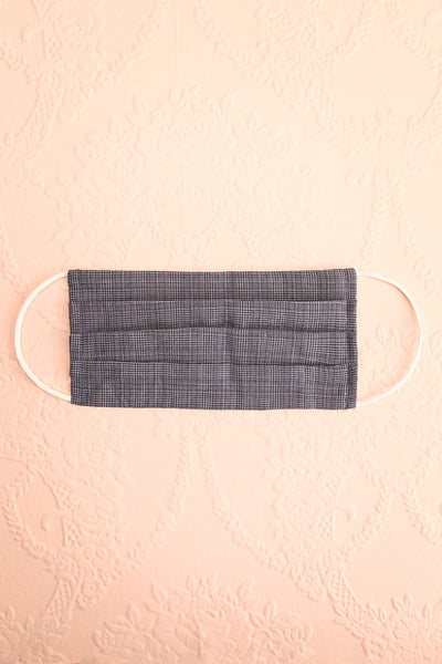 Navy Check Pleated Face Mask | Boutique 1861 view