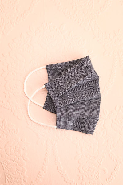Navy Check Pleated Face Mask | Boutique 1861 lining