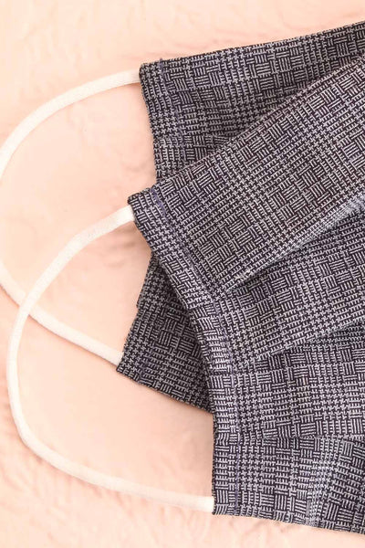 Navy Check Pleated Face Mask | Boutique 1861 lining close-up