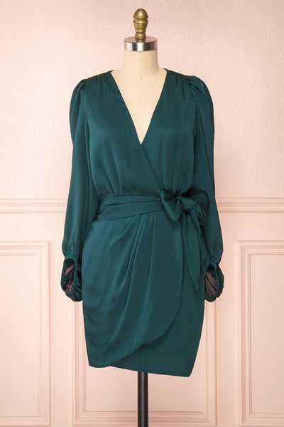 Nelly Green Long Puff-Sleeve Wrap Dress | Boutique 1861 front view