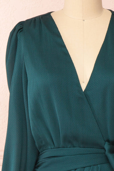 Nelly Green Long Puff-Sleeve Wrap Dress | Boutique 1861 front close-up