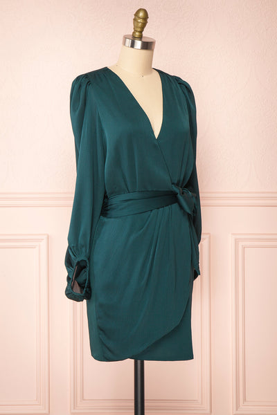 Nelly Green Long Puff-Sleeve Wrap Dress | Boutique 1861 side view