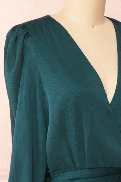 Nelly Green Long Puff-Sleeve Wrap Dress | Boutique 1861 side close-up