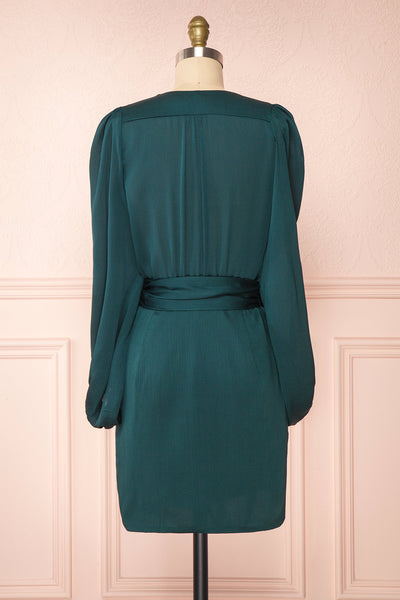 Nelly Green Long Puff-Sleeve Wrap Dress | Boutique 1861 back view