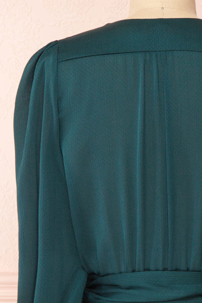 Nelly Green Long Puff-Sleeve Wrap Dress | Boutique 1861 back close-up