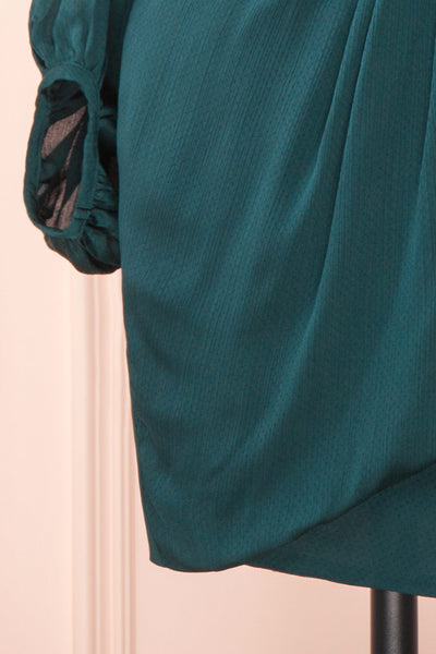 Nelly Green Long Puff-Sleeve Wrap Dress | Boutique 1861 bottom