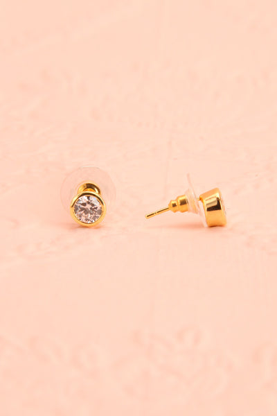 Nemass - Small clear crystal golden stud earrings
