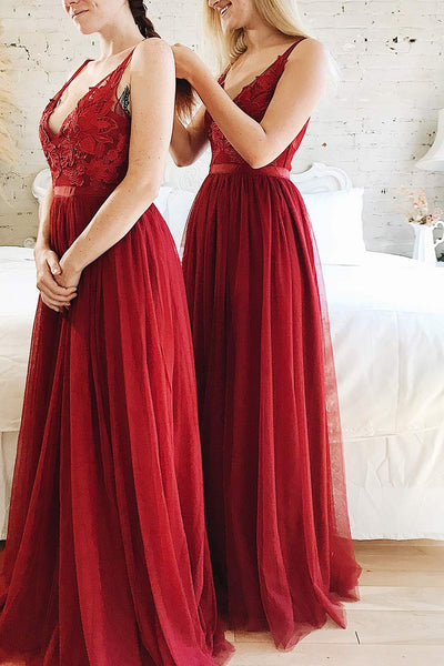 Néomie Burgundy Tulle Gown with Crocheted Lace | Boudoir 1861