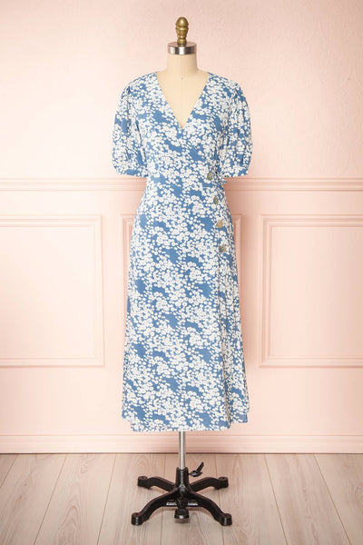 Neroli Blue Floral Midi Buttoned Wrap Dress | Boutique 1861 front view