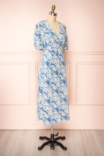 Neroli Blue Floral Midi Buttoned Wrap Dress | Boutique 1861 side view