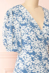 Neroli Blue Floral Midi Buttoned Wrap Dress | Boutique 1861 side close-up