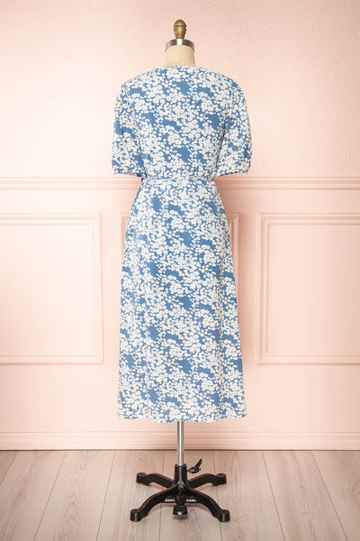 Neroli Blue Floral Midi Buttoned Wrap Dress | Boutique 1861 back view