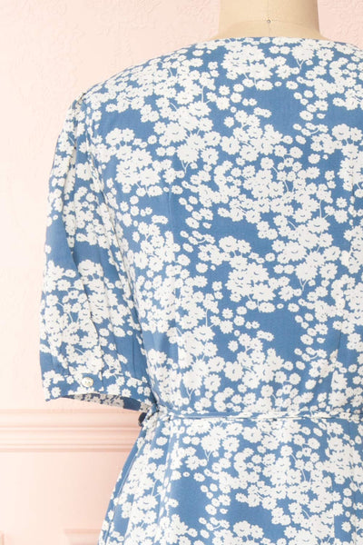 Neroli Blue Floral Midi Buttoned Wrap Dress | Boutique 1861 back close-up