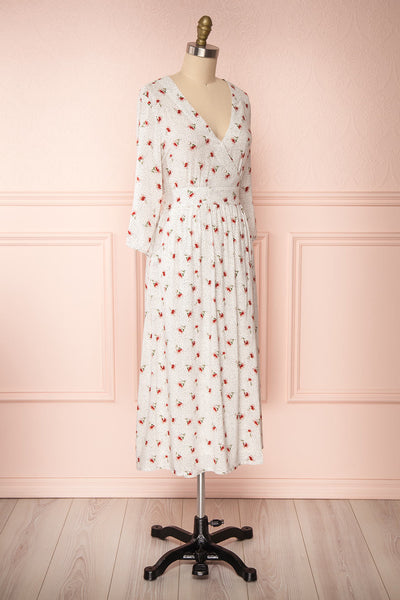Nerri White Patterned Midi Wrap Dress | Boutique 1861 side view