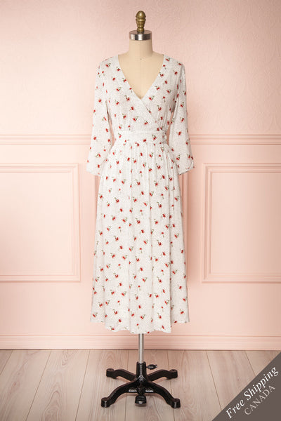 Nerri White Patterned Midi Wrap Dress | Boutique 1861 front view