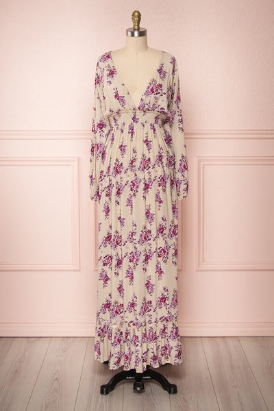Nianzu Taupe & Purple Floral A-Line Maxi Dress | Boutique 1861