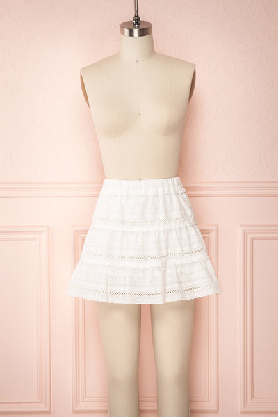 Niemodlin White Openwork Short Skirt | Boutique 1861 front view