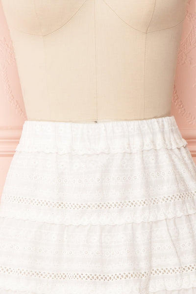 Niemodlin White Openwork Short Skirt | Boutique 1861 front close-up