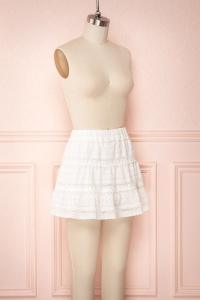 Niemodlin White Openwork Short Skirt | Boutique 1861 side view