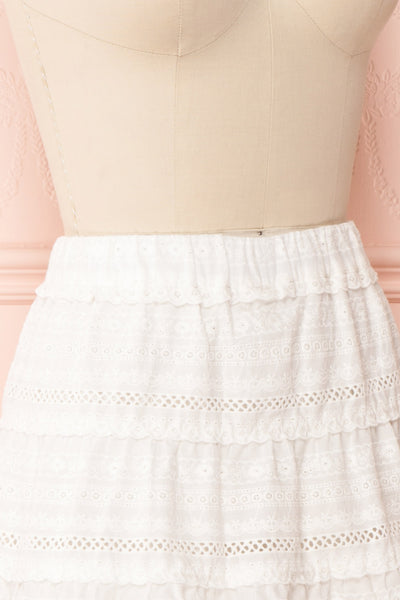 Niemodlin White Openwork Short Skirt | Boutique 1861 side close-up