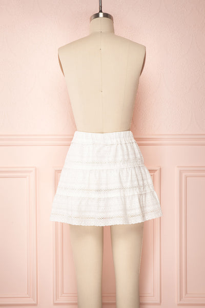 Niemodlin White Openwork Short Skirt | Boutique 1861 back view