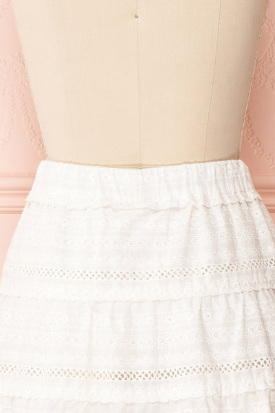 Niemodlin White Openwork Short Skirt | Boutique 1861 back close-up