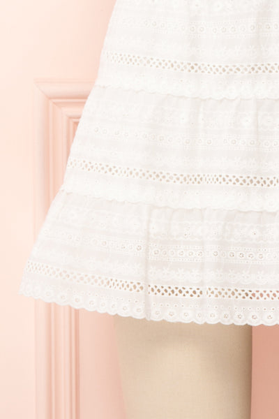 Niemodlin White Openwork Short Skirt | Boutique 1861 bottom close-up