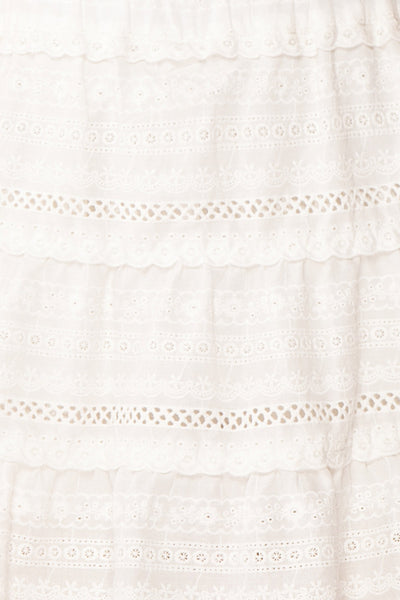 Niemodlin White Openwork Short Skirt | Boutique 1861 fabric