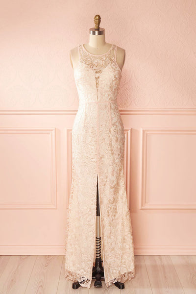 Nilia Quartz Light pink lace gown | Boutique 1861 front view