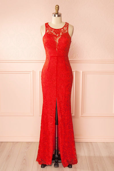 Nilia Ruby Lace Maxi Dress | Boutique 1861 front view
