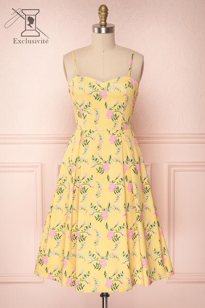 Nishika Yellow Floral A-Line Cocktail Dress | Boutique 1861