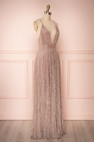 Noella Lepidolite Lilac Gown with Plunging Neckline | Boutique 1861 side view