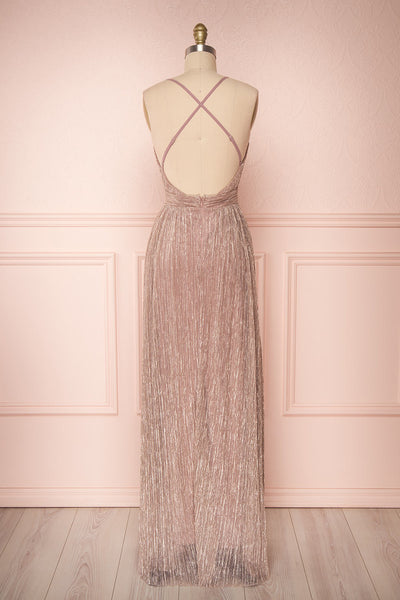 Noella Lepidolite Lilac Gown with Plunging Neckline | Boutique 1861 back view