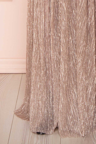 Noella Lepidolite Lilac Gown with Plunging Neckline | Boutique 1861 bottom close-up