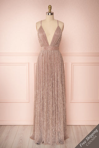 Noella Lepidolite Lilac Gown with Plunging Neckline | Boutique 1861 front view
