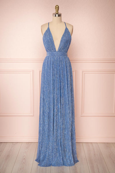 Noella Topaz Blue Mesh Gown with Plunging Neckline | Boutique 1861