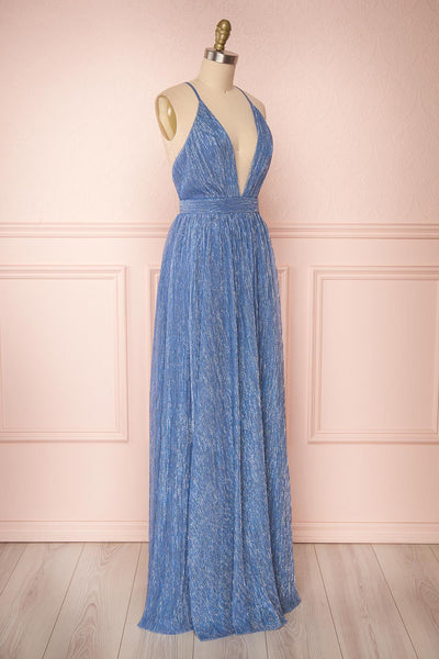 Noella Topaz Blue Mesh Gown with Plunging Neckline side view | Boutique 1861