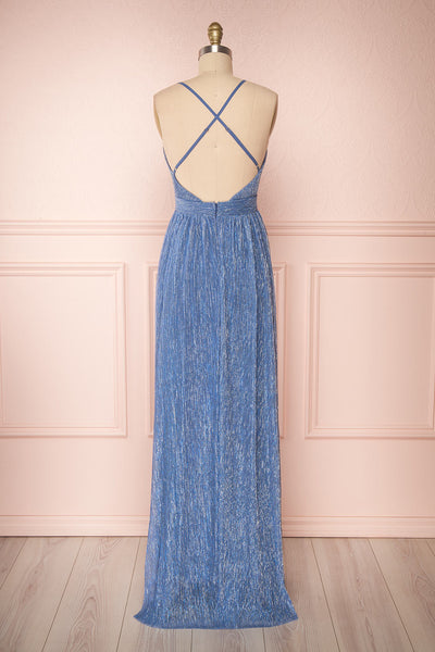 Noella Topaz Blue Mesh Gown with Plunging Neckline back view | Boutique 1861