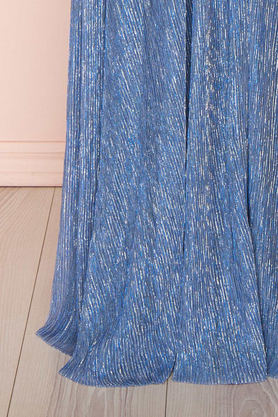 Noella Topaz Blue Mesh Gown with Plunging Neckline skirt close up | Boutique 1861