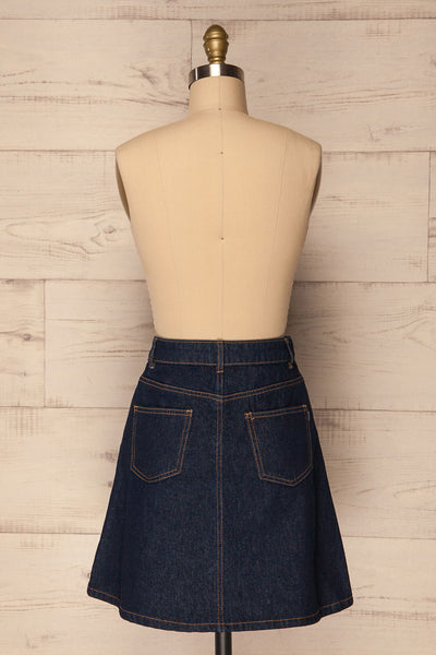 Nogerado Dark Blue Denim Button-Up Mini Skirt | La Petite Garçonne 5